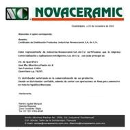 Carta certificacion de distribuidor NOVACERAMIC